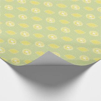 Lime Green Lemon Pattern Wrapping Paper