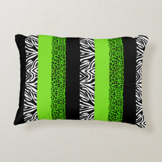 Lime Green Leopard and Zebra Animal Print Accent Pillow