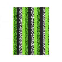 Lime Green Leopard and Zebra Animal Print Fleece Blanket
