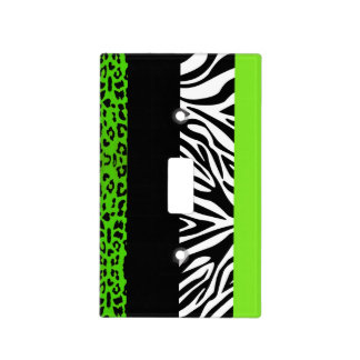 Lime Green Leopard and Zebra Animal Print Light Switch Cover