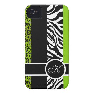 Lime Green Leopard and Zebra Animal Print Monogram iPhone 4 Cases