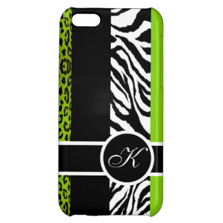 Lime Green Leopard and Zebra Animal Print Monogram iPhone 5C Case