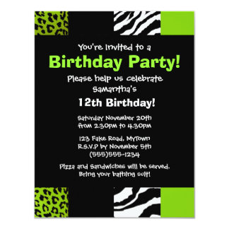 Lime Green Leopard and Zebra Animal Print Party 4.25x5.5 Paper Invitation Card