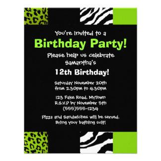 Lime Green Leopard and Zebra Animal Print Party Custom Invites