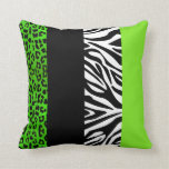 Lime Green Leopard and Zebra Animal Print Pillows