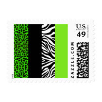 Lime Green Leopard and Zebra Animal Print Postage