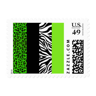 Lime Green Leopard and Zebra Animal Print Stamps