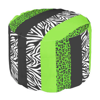 Lime Green Leopard and Zebra Animal Print Pouf