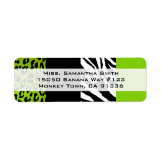 Lime Green Leopard and Zebra Animal Print Return Label
