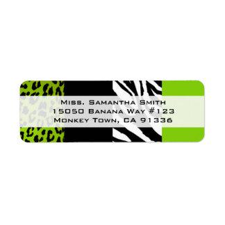 Lime Green Leopard and Zebra Animal Print Return Label