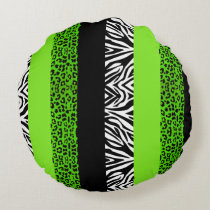 Lime Green Leopard and Zebra Animal Print Round Pillow