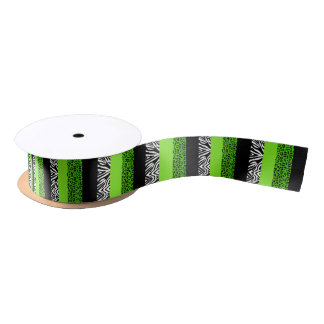 Lime Green Leopard and Zebra Animal Print Satin Ribbon