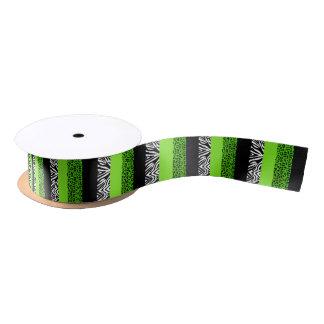 Lime Green Leopard and Zebra Animal Print Satin Ribbon