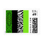 Lime Green Leopard and Zebra Animal Print Stamp