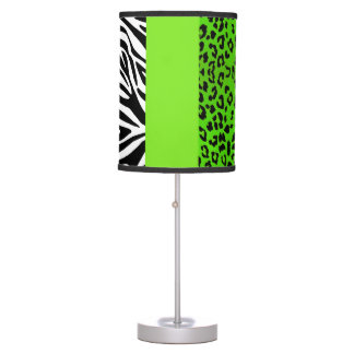 Lime Green Leopard And Zebra Animal Print Table Lamp