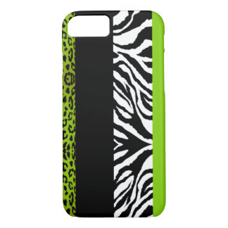 Lime Green Leopard and Zebra Custom Animal iPhone 7 Case