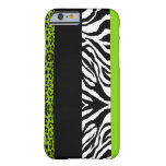 Lime Green Leopard and Zebra Custom Animal iPhone 6 Case