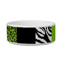 Lime Green Leopard and Zebra Custom Animal Print Bowl