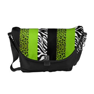 Lime Green Leopard and Zebra Custom Animal Print Courier Bag