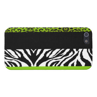 Lime Green Leopard and Zebra Custom Animal Print Cover For iPhone SE/5/5s