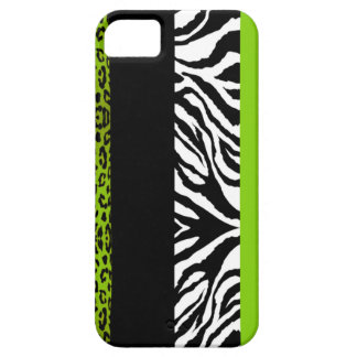 Lime Green Leopard and Zebra Custom Animal Print iPhone SE/5/5s Case