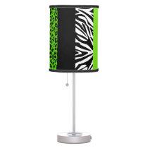 Lime Green Leopard and Zebra Custom Animal Print Table Lamp