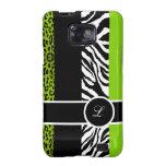 Lime Green Leopard and Zebra Monogram Animal Print Samsung Galaxy SII Cases