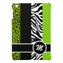 Lime Green Leopard and Zebra Monogram Animal Print iPad Mini Cover