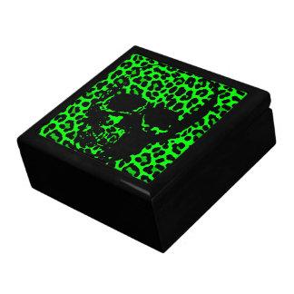 Lime Green Leopard print gothic skull Keepsake Box