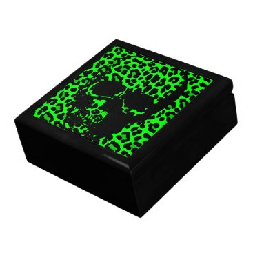 Halloween Themed Lime Green Leopard print gothic skull Keepsake Box