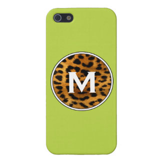 Lime Green & Leopard Print Monogrammed iPhone case