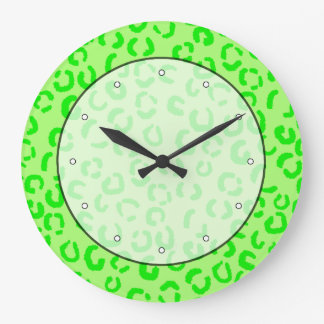 Lime Green Leopard Print Pattern. Large Clock