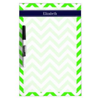 Lime Green LG Chevron Navy Blue Name Monogram Dry-Erase Board