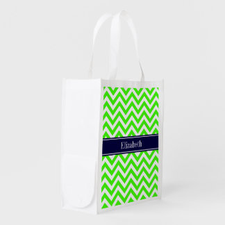 Lime Green LG Chevron Navy Blue Name Monogram Grocery Bags