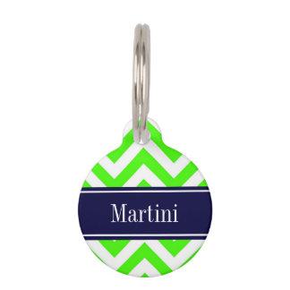 Lime Green LG Chevron Navy Blue Name Monogram Pet ID Tag