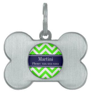 Lime Green LG Chevron Navy Blue Name Monogram Pet Name Tag