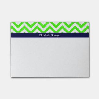 Lime Green LG Chevron Navy Blue Name Monogram Post-it® Notes