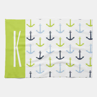 Lime Green, Light Blue, Navy, Nautical Anchors Kitchen Towel