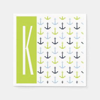 Lime Green, Light Blue, Navy, Nautical Anchors Paper Napkin