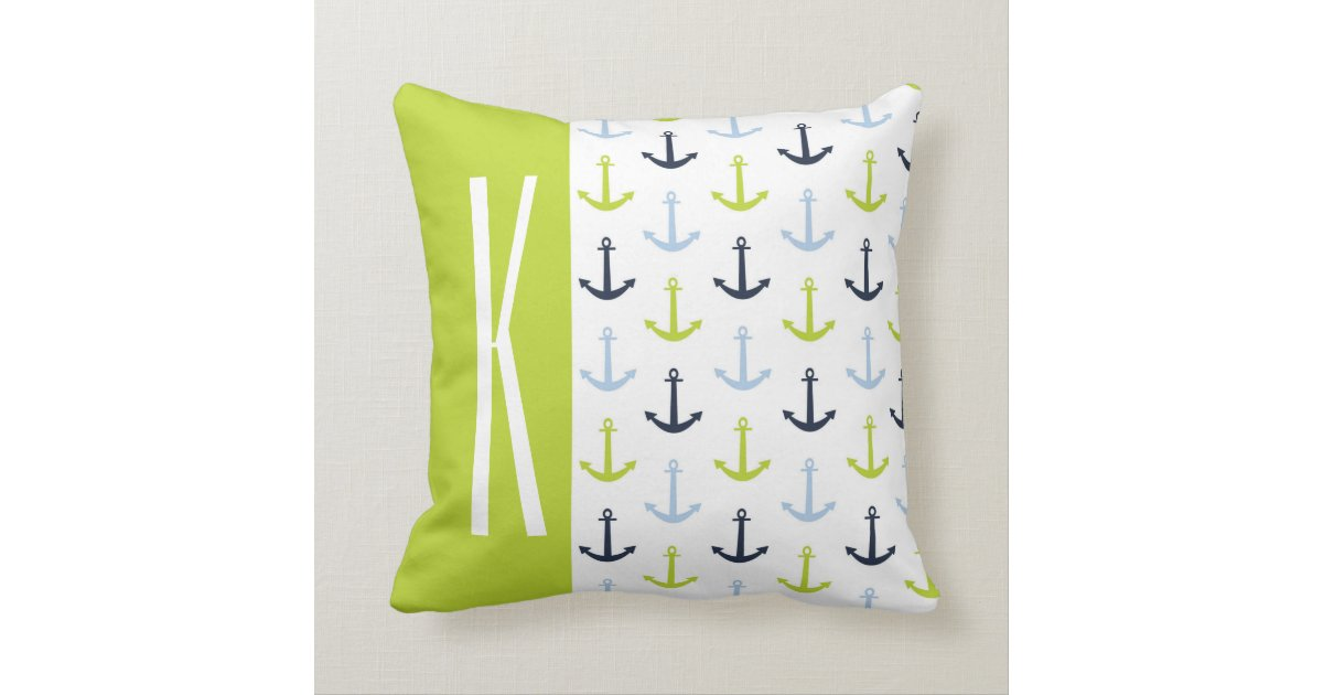 Lime Green, Light Blue, Navy, Nautical Anchors Throw Pillow Zazzle