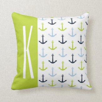 Lime Green, Light Blue, Navy, Nautical Anchors Throw Pillows
