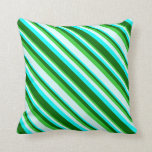 [ Thumbnail: Lime Green, Light Cyan, Aqua, and Dark Green Throw Pillow ]