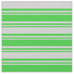 [ Thumbnail: Lime Green & Light Grey Colored Stripes Pattern Fabric ]