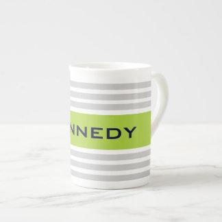 Lime Green & Light Grey Stripes & Custom Monogram Tea Cup