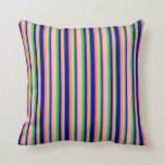 [ Thumbnail: Lime Green, Light Pink, Light Coral, and Blue Throw Pillow ]