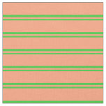 [ Thumbnail: Lime Green & Light Salmon Colored Lines Fabric ]