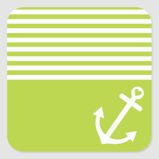 Lime Green Love Anchor Nautical Square Sticker