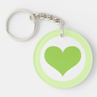 Lime green love heart and border keychain