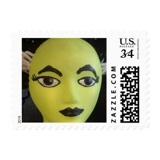 Lime Green Mannequin Mardi Gras Face Postage