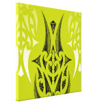 Lime / Green Maori design with feathers Gallery Wrap Canvas